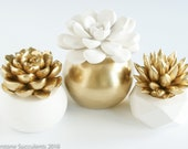 Set of 3 Succulent Sculptures in Gold and White Geometric Planters, Tabletop, Modern, Home and Office Decor