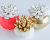 Set of 3 Succulent Sculptures in Round and Geometric Planters, White and Gold, Bright Red, Tabletop, Desktop, Modern, Home Office Decor