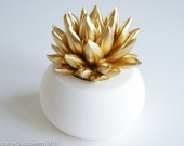 Gold Silver Copper Succulent Sculpture with White Planter, Desktop Office Accessories, Modern Minimalist Home Office Decor