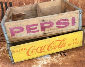 Vintage Wooden Soda Crate / Beverage Delivery Crate, Pepsi Crate, Coke Crate / Rustic,Aged, Industrial / Pink Crate / Yellow Crate