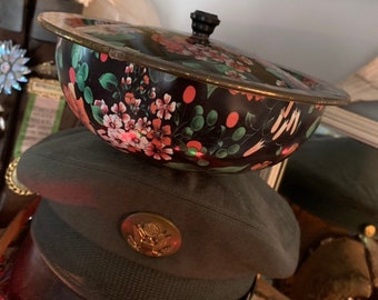 Store Things In This Vintage Nevco Floral Lidded Tin Bowl ef50eee7c2b0