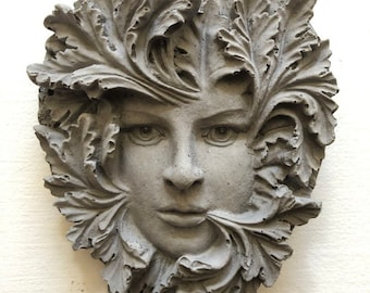 """Green woman concrete plaque with or without imbedded hanger, 4"""" x 3"""" green lady hanging face art"""