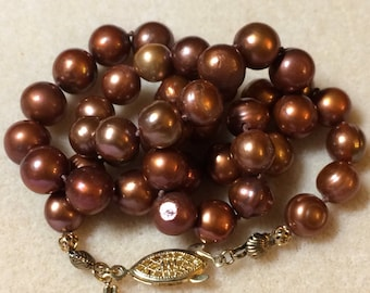 Brown Pearls 18.25 Inch Golden Chocolate Freshwater Cultured Pearls With Gold Findings