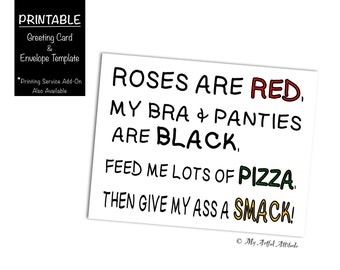Valentines Day Pizza PRINTABLE Card Dirty Roses Are Red Inappropriate Girlfriend Naughty Birthday Boyfriend DIGITAL