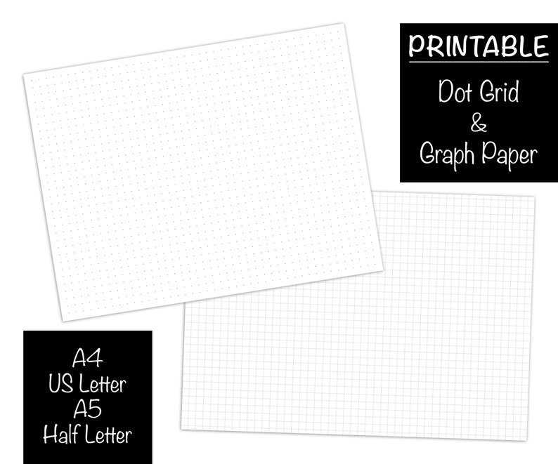 image about A5 Dot Grid Printable referred to as Dot Grid Paper Graph Paper PRINTABLE, A4, A5, US Letter 8.5 x 11, Fifty percent 5.5 x 8.5 Sheets, BUJO Bullet Magazine Inserts, Planner Refill Pdf