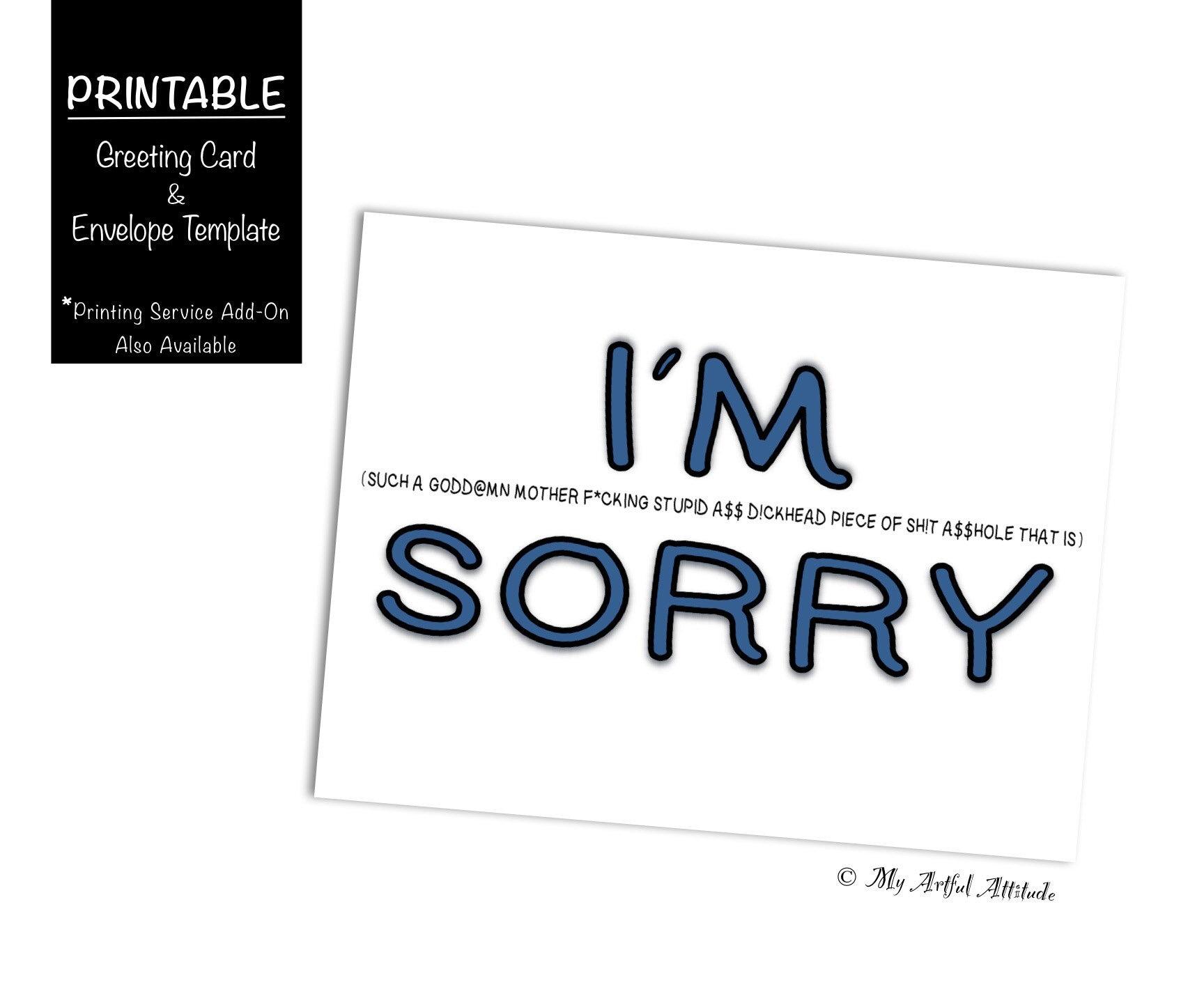 Sorry Apology Printable Card I Suck Im Sorry I Etsy