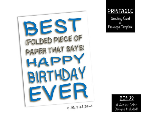 Best Day Ever PRINTABLE Birthday Card Friend Cards Funny Boyfriend Or Girlfriend BDay Mean Humor Sarcastic Negative Attitude DIGITAL