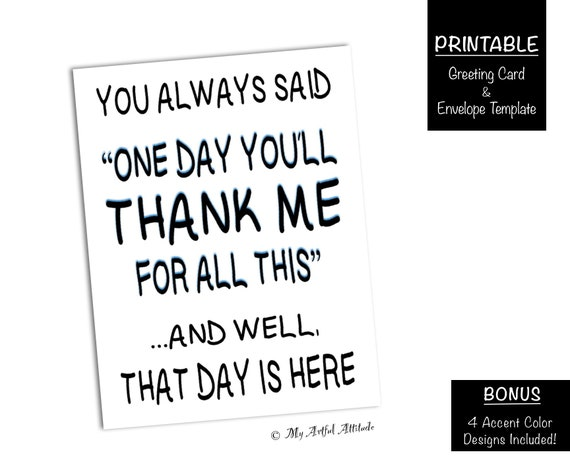 Fathers Day PRINTABLE Card Funny Mothers Birthday For Step Mom Or Dad Sarcastic Thank You Parent Humor Digital Download