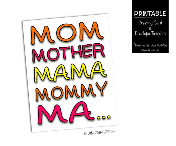Mothers Day Card PRINTABLE Funny Birthday For Mom Silly Mama