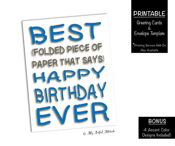 Best Day Ever PRINTABLE Birthday Card Friend Cards Funny