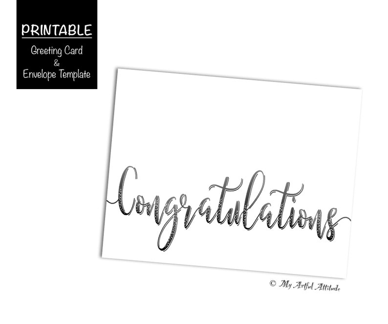 picture about Congratulations Card Printable called Congratulations Card PRINTABLE, Calligraphy Playing cards Electronic, Commencement or Wedding ceremony Card, Congrats Swashes, Easy, Minimalist, Romantic relationship, Grad