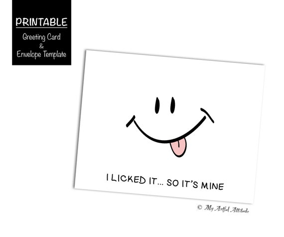 Valentines Day PRINTABLE Card I Licked It So Its Mine Funny Dirty Him Or Her Inappropriate Girlfriend Naughty Birthday Boyfriend
