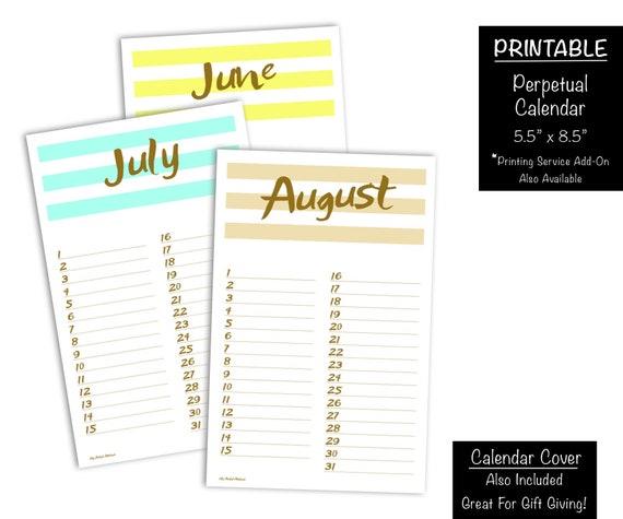 Perpetual Birthday Calendar Printable Chic Date Keeper Etsy