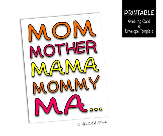 Mothers Day Card PRINTABLE Funny Birthday For Mom Silly Mama Mommy Ma Momma Cute Mum Cards Last Minute Instant Digital Download