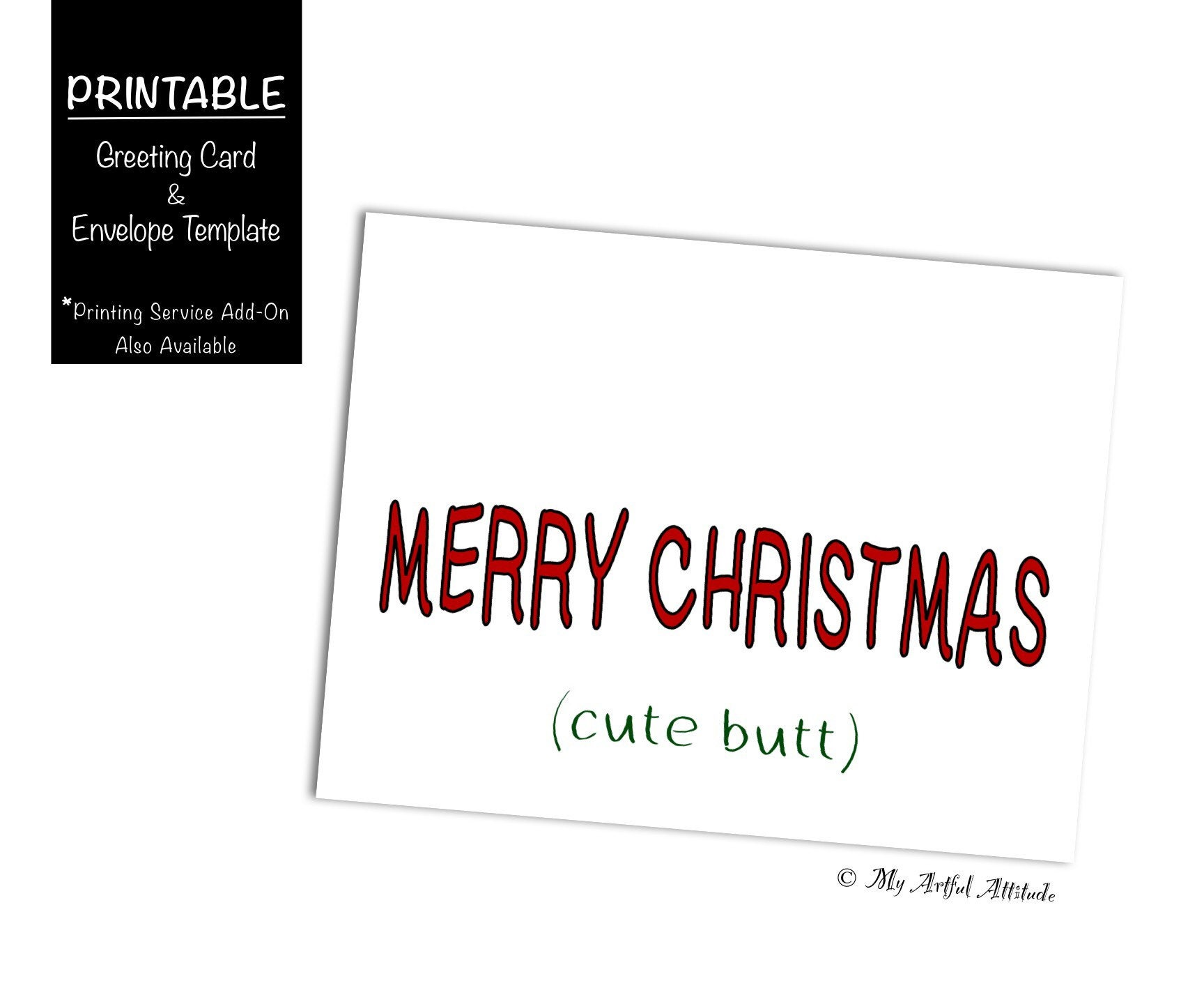 Christmas Card PRINTABLE Girlfriend Cute Butt Merry | Etsy