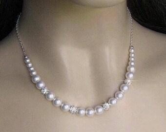Bridesmaid Jewelry, Pearl Bridesmaid Necklace, Pearl Necklace Bridesmaid Gift, Pearl and Rhinestone Necklace, Wedding Party, Bridal Party