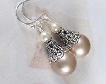 Champagne Pearl Earrings, Mother of The Bride, Bridesmaid Earrings, Vintage Style Pearl Drop Wedding Earrings, Wedding Jewelry, Silver