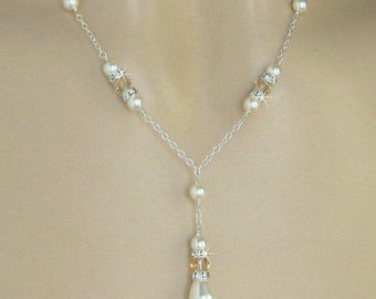 Champagne Bridal Necklace Champagne Necklace Champagne Bridesmaid Crystal and Pearl Necklace Y Drop Necklace Wedding Jewelry Sterling Silver