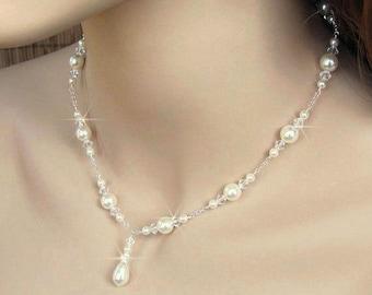 Bridal Pearl Necklace, Pearl and Crystal Bridal Necklace, Teardrop Pearl Y Drop Necklace, Wedding Necklace, Bride Necklace, Wedding Jewelry