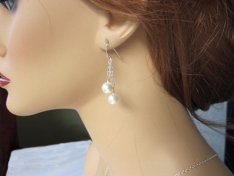 f1326bdb6338f Bridal Pearl Dangle Earrings Long Pearl Dangle Earrings Bridesmaid Earrings  Silver and pearl Earrings Bride Wedding Earrings Wedding Jewelry