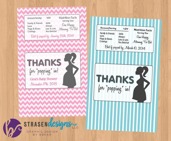 Personalized Pop Baby Shower Popcorn Wrappers Custom Etsy