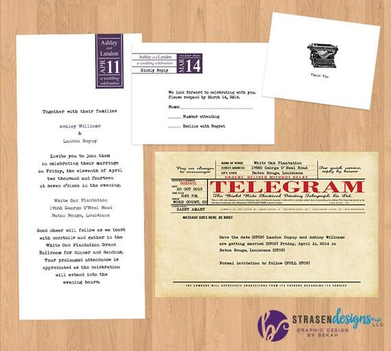 Vintage Maszyna Do Pisania Wedding Set Zaproszenie Telegram Etsy