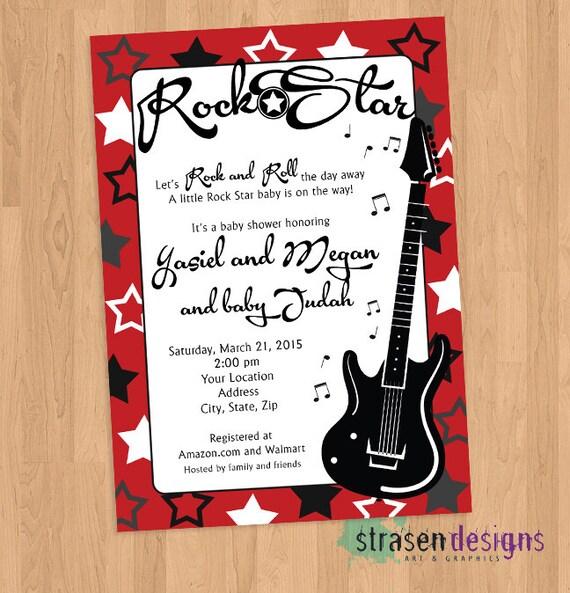 Rock Star Baby Shower O Invitación De Cumpleaños Para Imprimir
