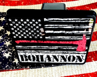 Personalized Fireman Red Line American Flag Hitch Cover