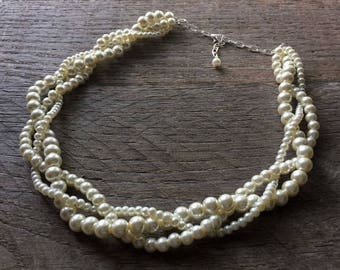 Ivory Pearl Necklace, Braided Pearl Necklace, Pearl Bridal Necklace, Multi Strand Necklace, Wedding Necklace on Silver or Gold Chain