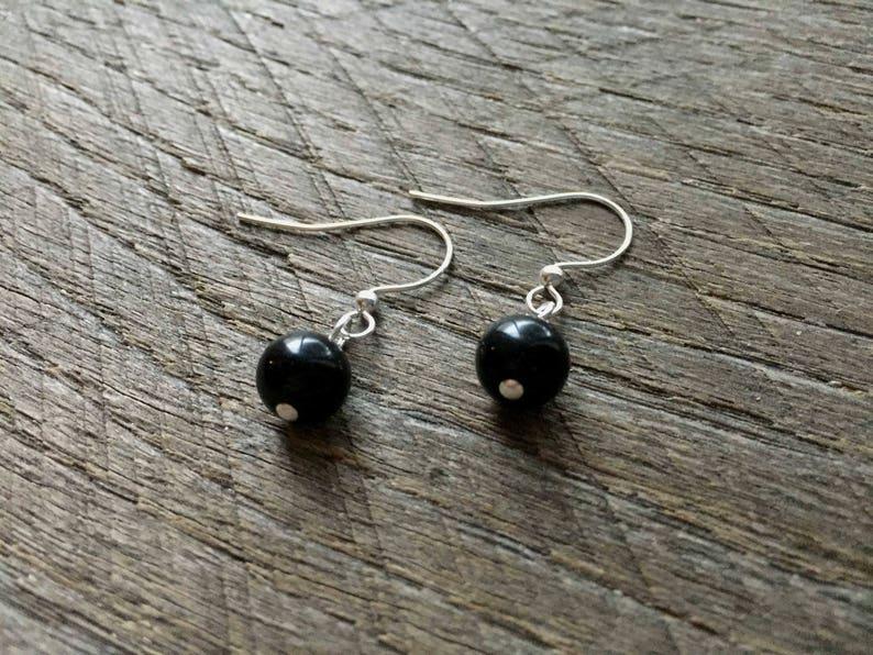Black Flower Girl Set Pearl Bracelet Earring One Single Strand Simple Pearl Bracelet Earrings on Silver or Gold Chain and Ear Wire Hook