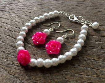 Pink Flower Girl Jewelry Rose, Pearl Bracelet, Pearl Earrings, Single Strand, Simple Pearl Jewelry, Wedding Jewelry, Bridal Party