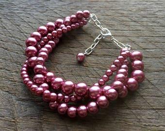 Rose Pink Pearl  Bracelet, Braided Pearl Bracelet, Pearl Bridal Bracelet, Multi Strand Statement Bracelet on Silver or Gold Chain