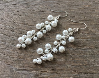 Pearl Cluster Earrings, Statement Cluster Earrings, Statement Bridal Earrings, Long Drop Earrings, Pearl Earrings, Statement Earrings