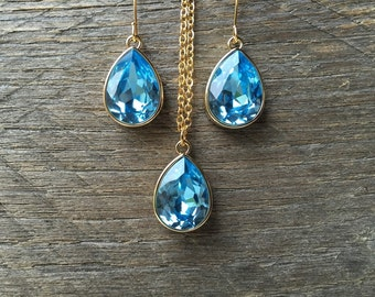 Teardrop Aquamarine Set Necklace Earring Swarovski Crystal Pear Pendant on Silver or Gold Chain and French Hook