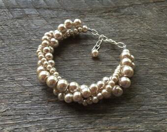 Champagne Pearl Bracelet, Wedding Bracelet, Pearl Bridal Twisted Bracelet, Simple Bracelet, Gift for Her on Silver or Gold Chain