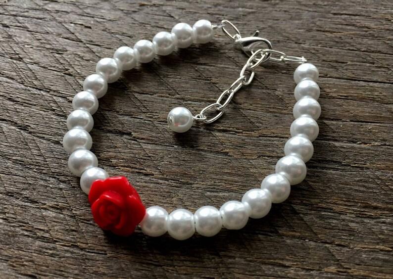 Simple Pearl Jewelry Bridal Party Wedding Jewelry Single Strand Pearl Bracelet Pearl Earrings Red Flower Girl Jewelry Rose
