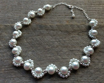 Scalloped White Pearl Necklace Bridal Necklace Statement Necklace with Silver or Gold Chain Elegant Lace Inspired
