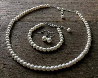 Cream Set Flower Girl Pearl Necklace Bracelet Earring One Single Strand Simple Pearl Necklace Bracelet Earrings on Silver or Gold