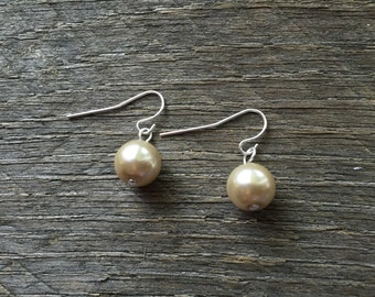 Champagne Pearl Earrings Bridal Earrings Single Pearl on Silver or Gold French Wire Hook