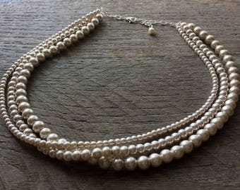 Champagne Pearl Necklace Multi Strand Necklace Bridal Necklace on Silver or Gold Chain