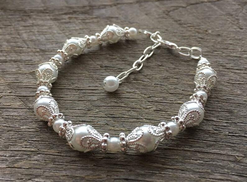 Art Deco Bracelet Wedding Pearl Jewelry Filigree Elegant image 0