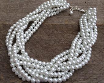 White Pearl Statement Necklace, Multi Strand Necklace Wedding Necklace, Chunky Braided Necklace on Silver or Gold Chain