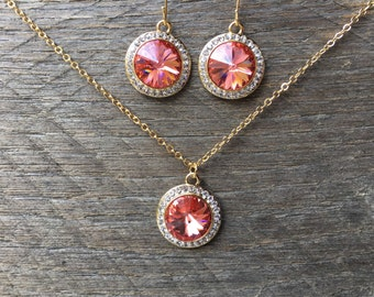 Coral Crystal Set Necklace Earring Swarovski Pendant with Rhinestones on Silver or Gold Chain and French Hook