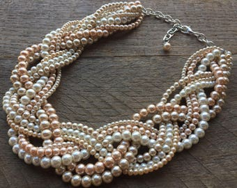 Pink, Champagne, Cream Ivory Statement Necklace, Chunky Pearl Necklace, Pearl Bridal Necklace on Silver or Gold Chain