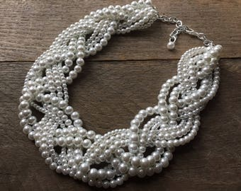 White Pearl Statement Necklace, Chunky Wedding Necklace, Multi Strand Necklace on Silver or Gold Chain