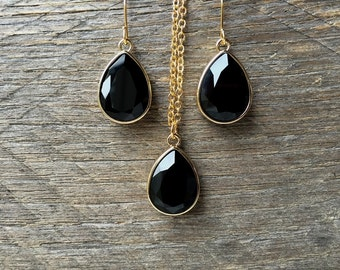 Teardrop Black Necklace Earring Swarovski Crystal Pear Pendant on Silver or Gold Chain and French Hook