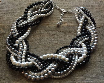 Black Grey Pearl Statement Necklace, Multi Strand Necklace Wedding Necklace, Chunky Braided Necklace on Silver or Gold Chain