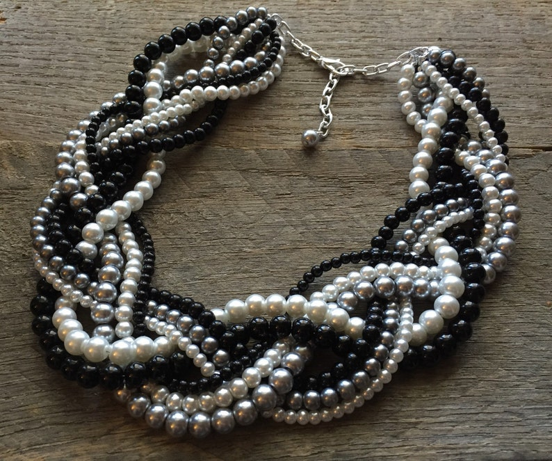 Black Grey Pearl Statement Necklace Multi Strand Necklace image 0