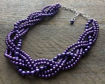 Dark Purple Chunky Pearl Necklace, Multi Strand Necklace Wedding Necklace, Pearl Statement Necklace on Silver or Gold Chain