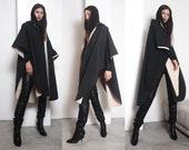 80s black beige cape raincoat os